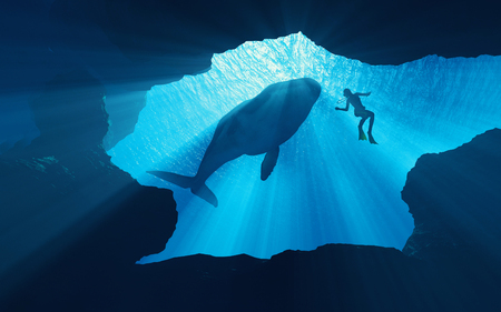 Scuba divers underwater. This is a 3d render illustration Stock Photo