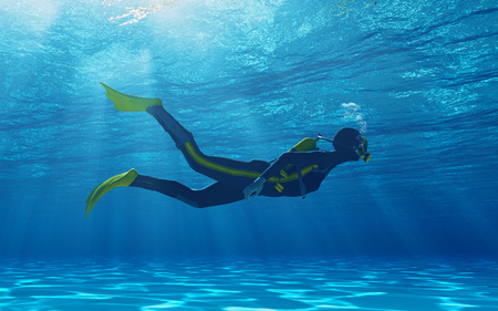Diver swimming underwater. This is a 3d render illustration Stock Illustration - 108230548