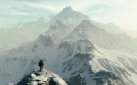 Conceptual image of a man hiker with backpack in front of a mountain - 3d illustration 스톡 콘텐츠