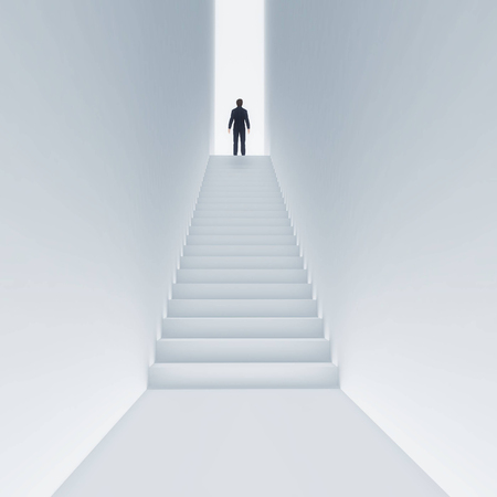 Young man climbing stairs to the sky. Concept of success. This is a 3d render illustration