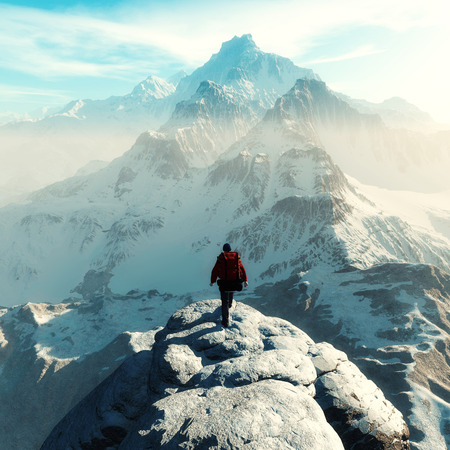 Conceptual image of a man hiker with backpack in front of a mountain - 3d illustration Stock Photo