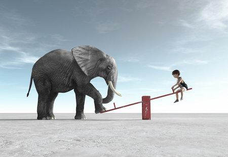 Een kind zit in een schommelstoel met een olifant. Dit is een 3D render illustratie. Stockfoto