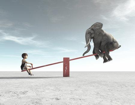 Ein Kind sitzt mit einem Elefanten in einem Schaukelstuhl. Dies ist eine 3D-Render-Darstellung.
