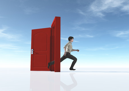 Young man running to an opened door. This is a 3d render illustration