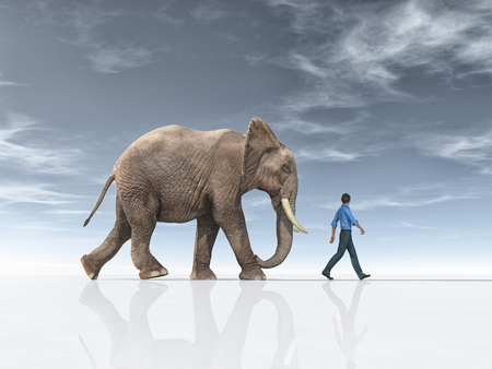 The man goes together with a big elephant. This is a 3d render illustration.