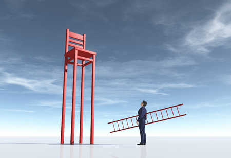 Businessman with a ladder beside a long leg chair. Aspiration concept. This is a 3d render illustration Stock fotó - 118899217