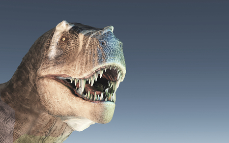 3d render dinosaur - trex white on blue background. This is a 3d render illustration Stock Photo
