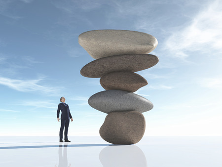 Man looks at some rocks arranged in balance. This is a 3d render illustration