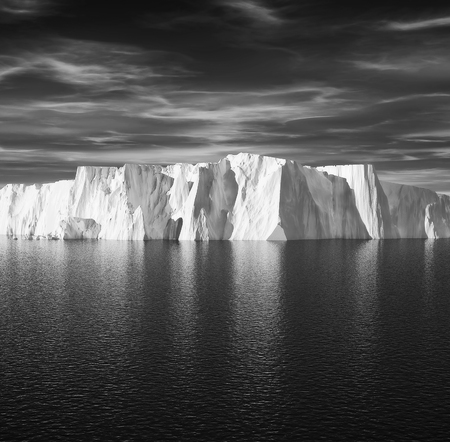 View of iceberg with beautiful transparent sea on background. This is a 3d render illustration