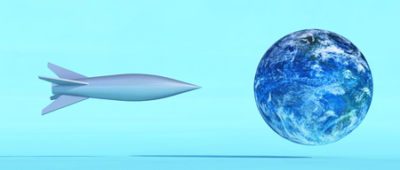 Illustration of the earth being attacked by a missile. This is a 3d render illustration 스톡 콘텐츠 - 118899241