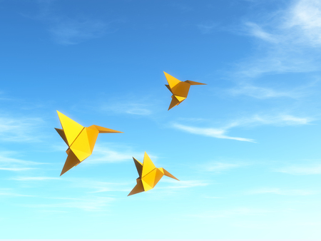 Conceptual image with origami fly birds. This is a 3d render illustration