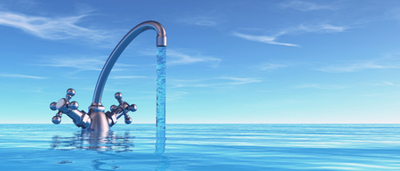 Conceptual faucet in sea. - this is a 3d render illustration