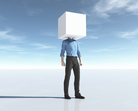 Man with his head in a cube. This is a 3d render illustration