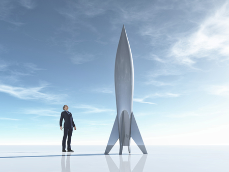 Business man with jet rocket. This is a 3d render illustration
