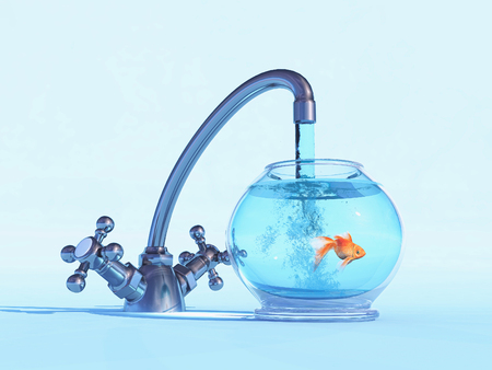 A tap over a bowl with a golden fish. The concept of rescue. This is a 3d render illustration Banco de Imagens - 118899048