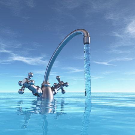 Grifo conceptual en el mar. - esta es una ilustración de render 3d
