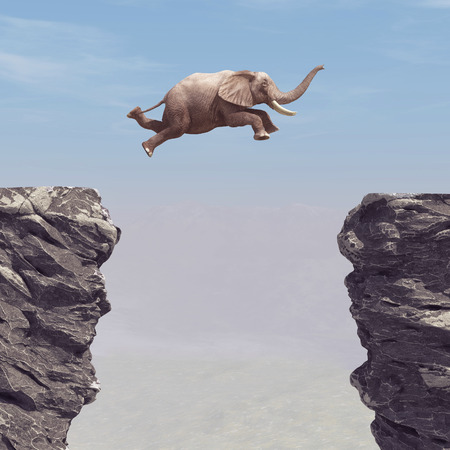 A elephant jumping over a chasm. This is a 3d render illustration