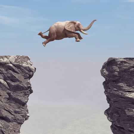 Un elefante che salta su un abisso. Questa è un'illustrazione di rendering 3d