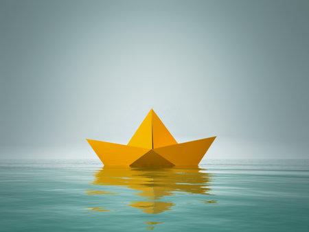 Bateau en papier origami. Il s'agit d'une illustration de rendu 3D Banque d'images