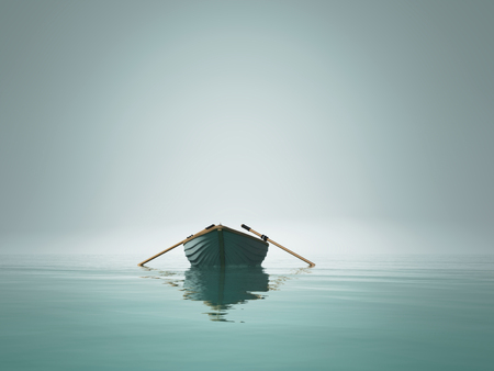 A boat on the lake in the morning. This is a 3d render illustration