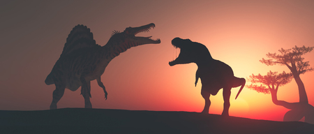 Tyrannosaurus Rex in the jungle at sunset. This is a 3d render illustration Foto de archivo - 118898923
