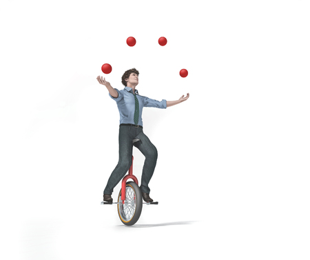 Juggler is balancing on bike. This is a 3d render illustration