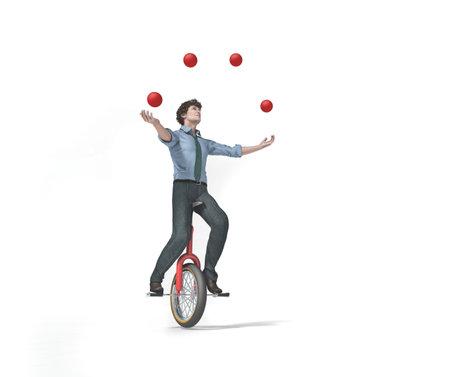 Le jongleur est en équilibre sur le vélo. Il s'agit d'une illustration de rendu 3D