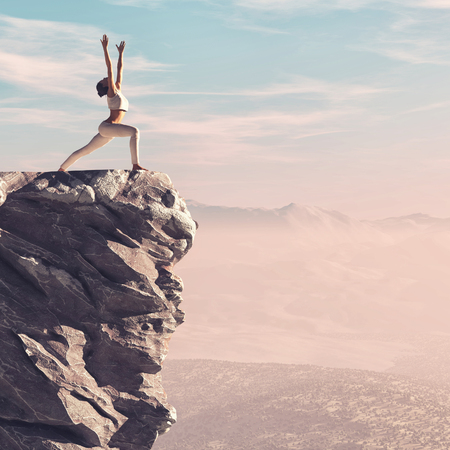 The young woman makes exercises of yoga, the top of the mountaint.  This is a 3d render illustration Stock Photo
