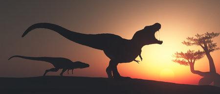 Tyrannosaurus Rex en la jungla. Esta es una ilustración de render 3d