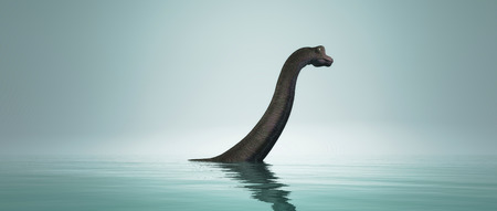 Brachiosaurus dinosaur in water.  This is a 3d render illustration