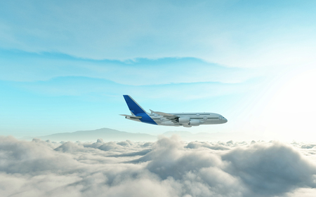 Airplane above the clouds. This is a 3d render illustration