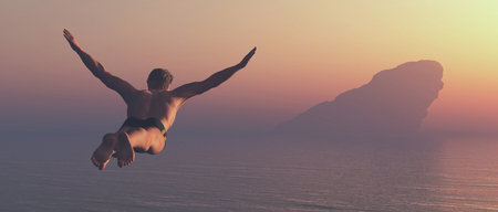 Athlete jumps into a lake. This is a 3d render illustration