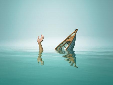 Die Person, die mit dem Boot sinkt. Dies ist eine 3D-Rendering-Illustration