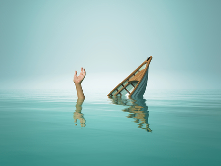 The person who sinks with the boat.This is a 3d render illustration Archivio Fotografico