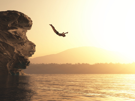 The young man jumps into a lake. This is a 3d render illustration