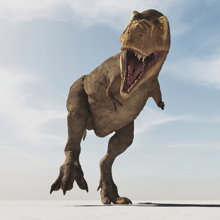 Frontal image of Tyrannosaurus Rex walk. This is a 3d render illustration