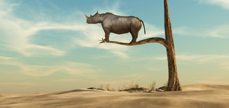 rhino stands on thin branch of withered tree in surreal landscape. This is a 3d render illustration Stockfoto