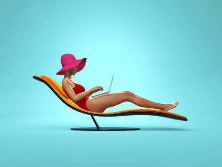 Woman in swimsuit using a laptop, sitting on a sunbed on blue background.