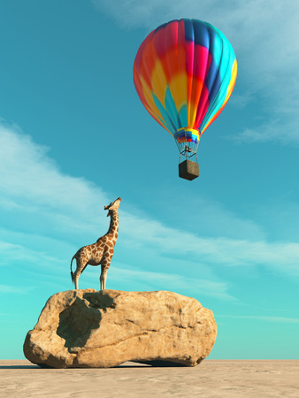 Giraffe on a rock rising up to a balloon