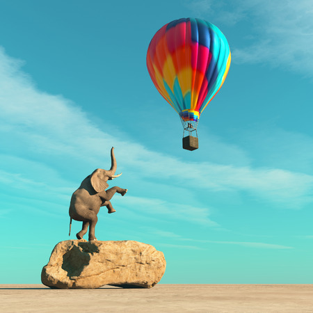 Elephant on a rock rising up to a balloon
