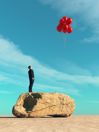 Man standing on a rock looking up to red balloons.