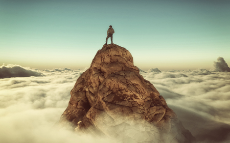 Hiker standing on a mountain peak above clouds . This is a 3d illustration