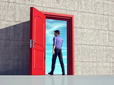 Businessman walking through an opened door. This is a 3d illustration.