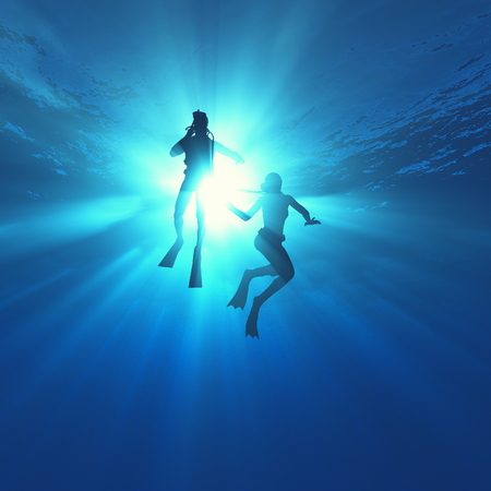 Low angle view of two scuba divers in the ocean. This is a 3d render illustration.