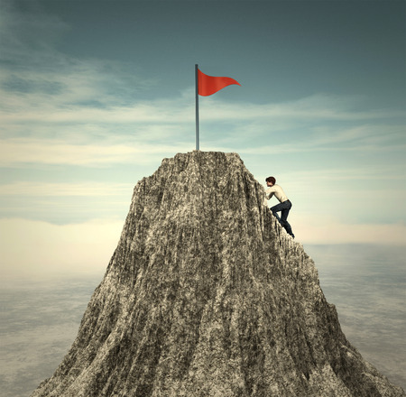 Man climbing on a mountain peak to a red flag. This is a 3d render illustration.