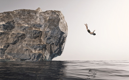 Man jumping off a rock in the water. This is a 3d illustration .