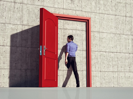 Man walking through an opened door and through the wall. This is a 3d illustration. Stockfoto