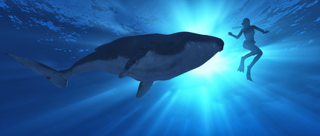 Low angle view of a whale and diver swimming in the ocean. This is a 3d render.