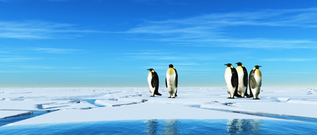 Group of penguins on frozen cracked water. This is a 3d illustration. Stockfoto