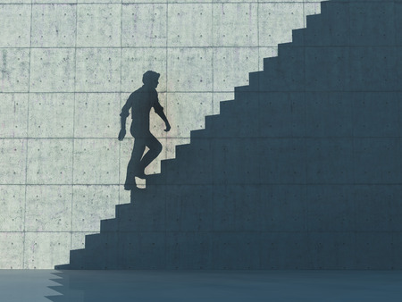 Shadow on concrete wall of a man ascending on stairs. This is a 3d render illustration. Stockfoto